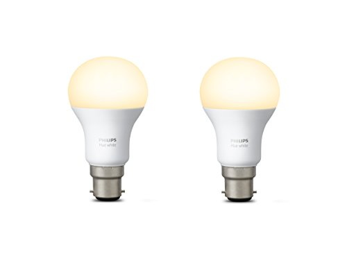 Philips Hue White Personal Wireless Lighting LED B22 9 W Twin Pack Bayonet Cap Light Bulbs,[Apple Homekit Enabled], Works with Alexa [Energy Class A+]
