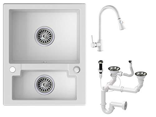 Granitspüle weiß, Armatur 9000 - Hochdruck, 2-Becken, Drehexcenter + Siphon, Spülbecken, Küchenspüle, Schrankbreite ab 60 cm