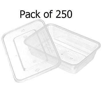 Lot de 250 boîtes de conservation alimentaire avec couvercles - Réutilisables et lavables - Pour micro-ondes - En plastique - Pour fête, mariage, pique-nique, réfrigérateur, cuisine 250 récipients avec couvercle de 500 ml.