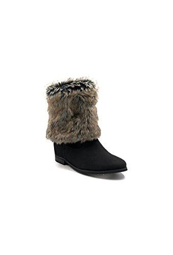 CHIC NANA . Chaussure femme bottine style nubuck compensées intérieur fourrure synthétique amovible. Noir