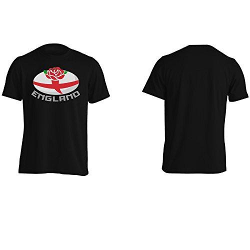 Nuova Palla Di Rugby Inghilterra Inglese Uomo T-shirt i198m Black