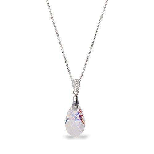Ana Morales Élégant pendentif en cristal Swarovski et argent sterling 925 avec chaîne en argent de 47cm pour femme Weiss Patina