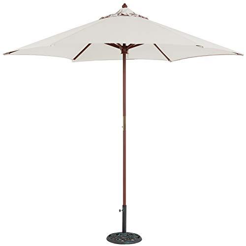 Tropishade 9 ft Wood Market Umbrella with Antique White Polyester Cover - 9' Market Umbrella Base