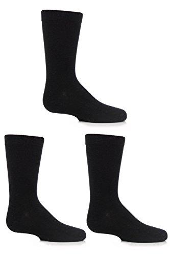 Jungen und Mädchen 3 Paar SockShop Einfarbige Bambus Socken mit Komfortmanschette und Handverknüpfte Zehen - Schwarz - Nahtlose Schwarz Jungen Socken