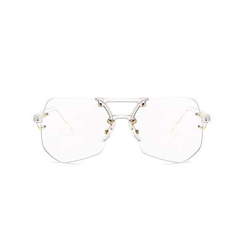 Polarisierte Herren Sonnenbrille UV 400 Protection Classic Aviator Fashion Style von Plastic Frame Ultra Light (Color : Clear)