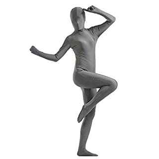 Unisex Zipper Adult Cosplay Fancy Jumpsuit Tight Stage Costumes Grey S