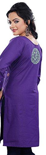 À Manches Longues Indienne Kurti Femmes Tunique Coton Blouse Bleu