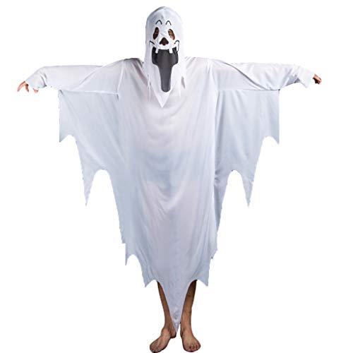 Baipin Halloween Ghost Kostüm, Weiß Ghost Cosplay Kostüm Funny Ghost Kostüm für Kinder Adult für Halloween Partys Verkleidungen Shows Lustige Aktivitäten Tanzlokale (Adult Funny Ghost Kostüm)