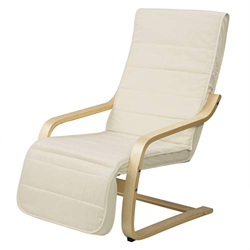 EUGAD 0018XXY Relaxsessel Relaxstuhl Schwingsessel Schaukelsessel Sessel mit verstellbarem Fußteil Stoffbezug Massivholz Cremeweiß