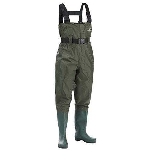 nglerhose Watstiefel Watt Fisch Teich Gummi PVC Nylon Wathose mit Stiefeln kältebeständig 43 ()