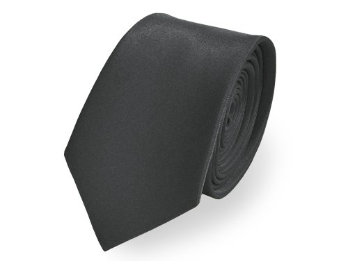 Knight - Premium Satin Skinny Tie, Slim Tie, Narrow Tie - Over 40 Colours available (Charcoal)