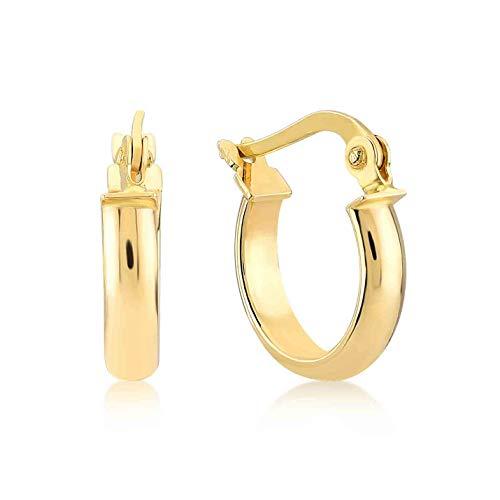 Damen Ohrringe 14 Karat - 585 Echtgold, Creolen, Gelbgold, Außendurchmesser 15 mm, Gewicht 1 gr Geschenk für Valentinstag Geburstag