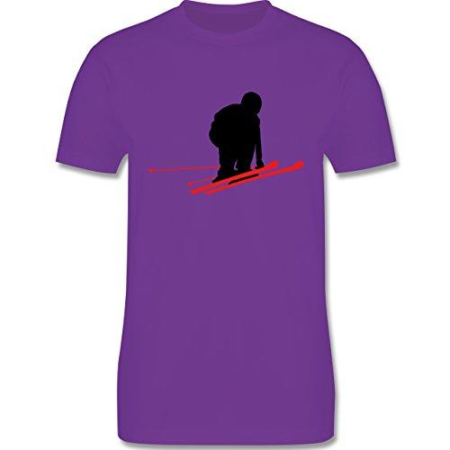 Wintersport - Abfahrt schwarze Piste - Schuss - Herren Premium T-Shirt Lila