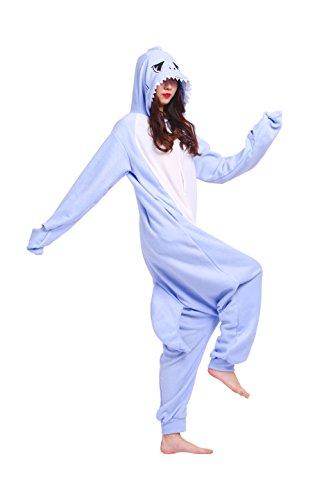 Magicmode Unisex Cartoon Cosplay Animali Insetti Costumi Felpa Adulti Kigurumi Onesie Pigiami Pigiameria Luce Blu Shark