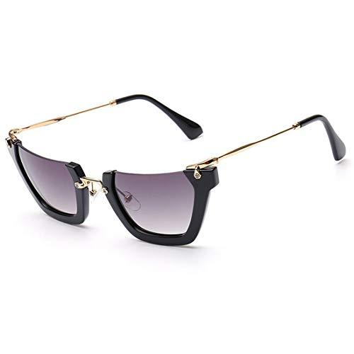 Yiph-Sunglass Sonnenbrillen Mode Halbrahmen-unregelmäßige kleine Sonnenbrille für Frauen Männer UV-Schutz für Fahren im Freien Urlaub. (Farbe : Schwarz)