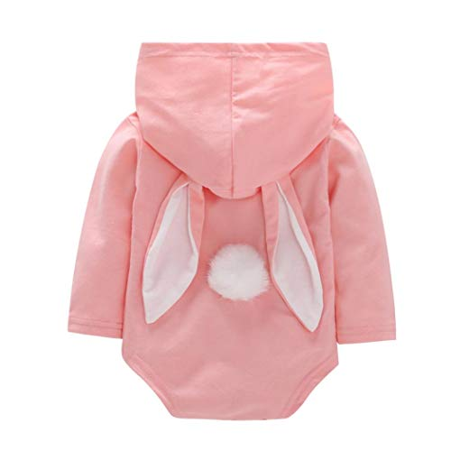 Fuibo Baby Mädchen Kleidung, Kleinkind Baby Girls Boys Cartoon Kaninchen Ohr Kapuzen Romper Jumpsuit Outfits Halloween Langarm Strampler Tops (6-12M(80), Pink)