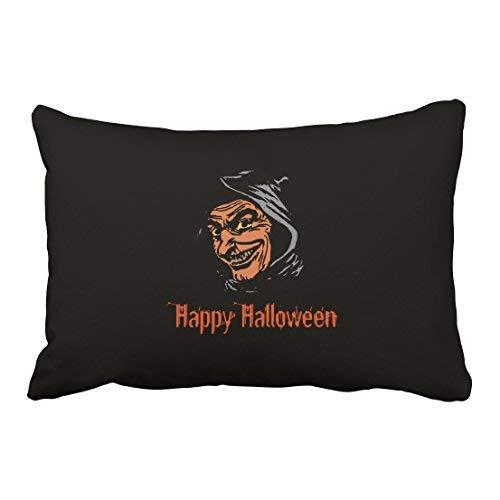 on Happy Halloween Horror Goblin Portrait 20x30 Inch Rectangle Throw Pillow Covers with Hidden Zipper Home Sofa Cushion Decorative Pillowcases ()
