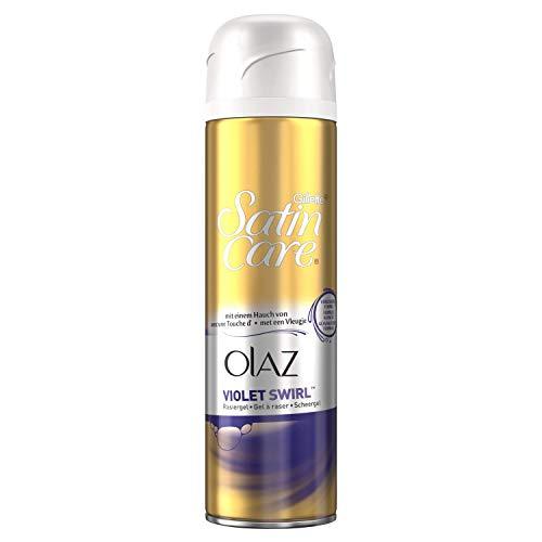 Satin Haut Rasiergel (Gillette Venus Satin Care Violet Swirl mit einem Hauch von Olaz Rasiergel, 2er Pack (2 x 200 ml))
