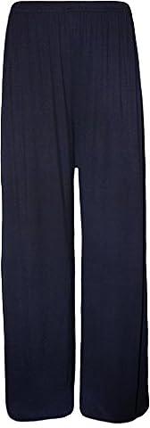 WearAll - Grande taille pantalon palazzo jambe large - Bleu