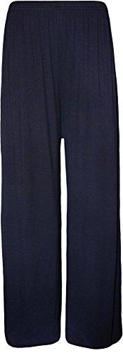 WearAll - Übergröße Damen Palazzo Weite Bein Hosen - Marineblau - 52-54 (Hose Luxe Hose)