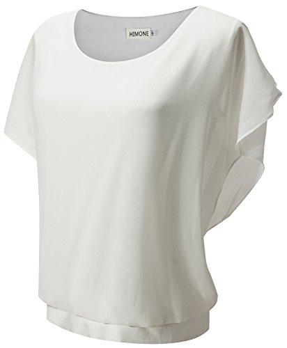 HIMONE Damen Kurze Aermel Casual Loose Solide Batwing T-Shirt Bluse (38,Wei?)