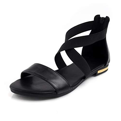 Frauen Flache Sandalen Sommer Kreuz gebunden Knöchel Wickeln Peep-Toe- Süße Schuhe Damen Quadrat Ferse Sandalen Strappy Ankle Wrap Sandal