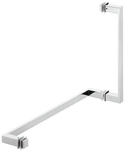 Design Glastürgriff chrom poliert Bad-Türgriff rechteckig für Glastüren Dusch-Türgriff mit Handtuchstange | Modell H8590 | Griff Messing verchromt poliert | 200 x 70 x 25 mm | inkl. Badetuchstange | Möbelbeschläge von GedoTec®