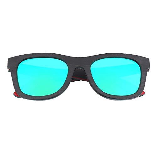 LKVNHP Holz Sonnenbrillen für Männer und Frauen Polarisierte Linse Skateboard Farbe Holz Sonnenbrille Hochwertige Nur Sonnenbrille Grüne Linse