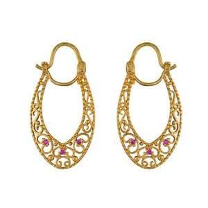 1001 Bijoux - Créoles style gitane forme ovale pierres rouges plaqué or
