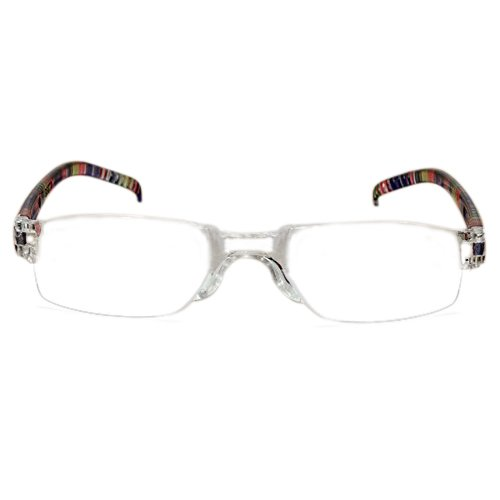 Schwarze Randlose Brillen (TOOGOO(R) Trendige Lesebrille Nerd Brille Lesehilfe Sehhilfe Randlos +2.0 rot Schwarz)