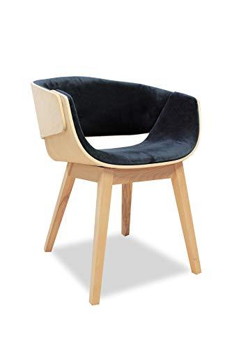 Meubletmoi Fauteuil Design Gris Anthracite en Bois et Tissu Velours - Style Contemporain - L'Elégance & la Qualité - Spoon