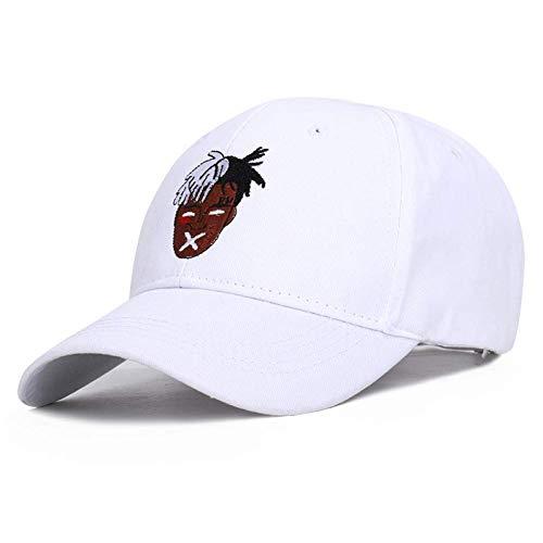 ZHAOTD Baseball-Cap-Maske als Geschenk Baseball-Cap Hip Hop Männer Frauen Rapper Locker Tänzerin Dj Bestickt Sun Cap Papa Hut Sports Outdoor Baseball Cap (Farbe : (Weiße Rapper Maske)