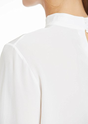 LILYSILK Top à Manches Longues en Soie Femme Col Boutonné Elégant Blanc Naturel