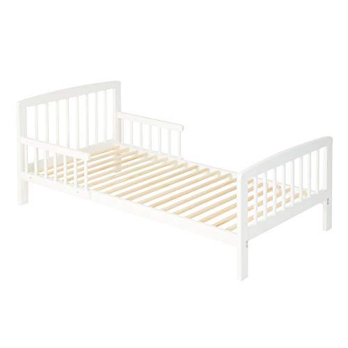 Alcube | Kinderbett Eve | Holz lackiert | Kleiner Rausfallschutz Lattenrost | 140 x 70 cm | weiß | Matratzen-empfehlung