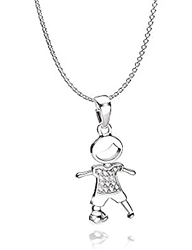 MATERIA Kinder Anhänger Junge mit Fußball 925 Silber Zirkonia rhodiniert inkl. Schmuckbox #KA-401