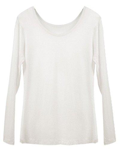 Smile YKK Femme Tops Madal Shirt Elastique Uni Blanc