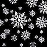 Hestya 50 Stück Kunststoff Weiß Schneeflocken Ornamente für Weihnachtsdekoration, Sortierte Größen 1/2/ 3/4/ 5/6 Zoll