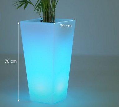 Gowe extérieur étanche H78 cm 16 couleurs Rumba carré Glow LED Seau à glace sans fil, Pot de fleurs meubles de lumière LED Plante Vase
