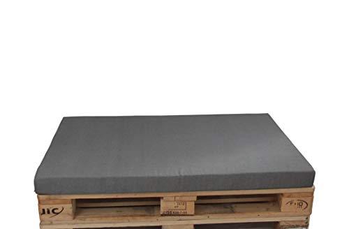 Herlag Premium Coussin de Palette (Coussin de siège, Couleur Gris, Fermeture éclair, Housse Lavable, Dimensions 120 x 80), chiné