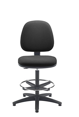 Cheap Office Hippo High Level Operator Chair with Fixed Back and Adjustable Draughting Kit, Fabric – Charcoal Grey Online