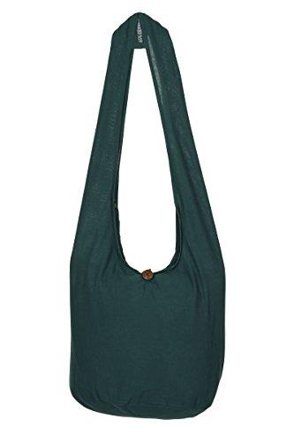 ThaiUK Damen Hippie-Tasche mit Schulterriemen, Boho-Stil, 100 % Baumwolle Grün - Dunkelgrün