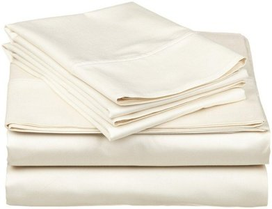 Crafts Linen 4 PCs Set (1 Fitted Sheet 35 Cm Deep+ 1 Zipper Closer Duvet Cover & 2 Pillow Cover) Bland Durable Quality Genuine Egyptian Cotton 800-Thread-Count (Ivory Solid,Double