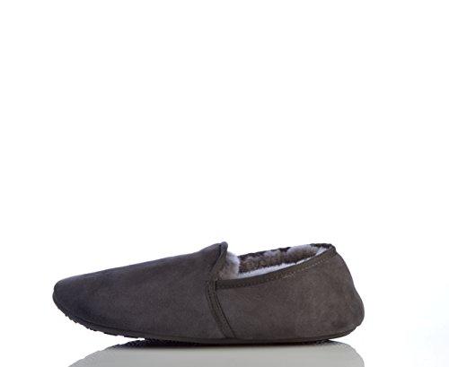 La pantofola di vello azienda. Pantofole da uomo in vera pelle di pecora. Stile Garfield. Disponibile in Misure 7x 12 Grey