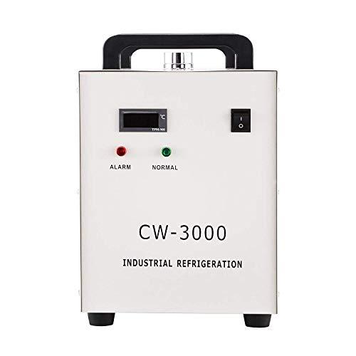 Morffa 80W Industriewasserkühler 9L Industriewasserbehälter-Kühler für CNC-Laserengraver-Maschinen 220V 50Hz Wasserkühlung Industrieller Kühler (CW-3000)