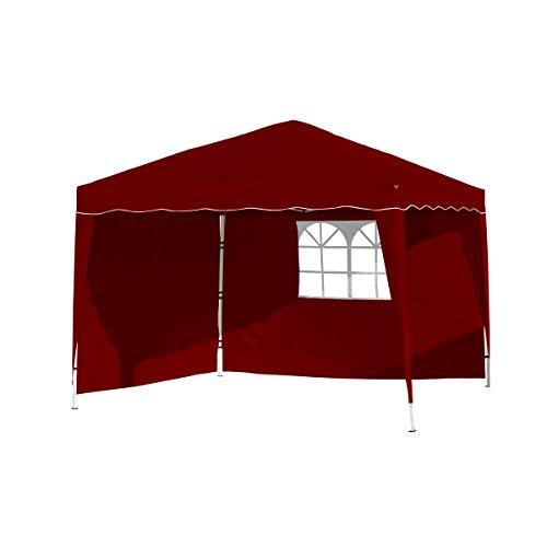 Vanage Pavillon Stella rot aus Aluminium mit 4 Seitenwänden, 300x300x260cm, Faltpavillon einsetzbar als Gartenpavillon, Party- und Festzelt, Camping- und Festival-Zelt, Gartenmöbel