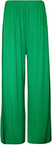 New Ladies Plus Size Women's Plain Palazzo Wide Leg Flared Ladies Trousers Pants. UK 8-26