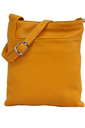 AMBRA Moda Italienische Ledertasche Schultertasche Crossover Umhängetasche Nappaleder Damen Kleine Tasche NL611 (Gelb senf)