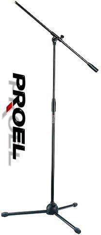 Proel RSM180 - Asta Professionale per Microfono, treppiede con snodo a giraffa nylon, per karaoke e Live, Nero