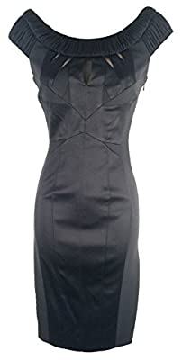 KAREN MILLEN Black Pencil Ruched Tailored Dress DN092