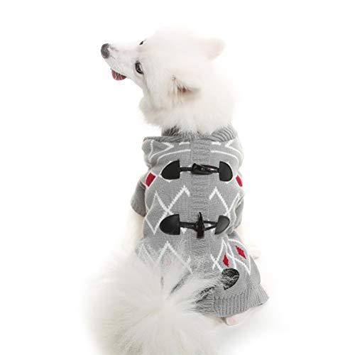 HOMIMP - Suéter para Perros pequeños y Grandes, diseño de Cuerno, Color Gris